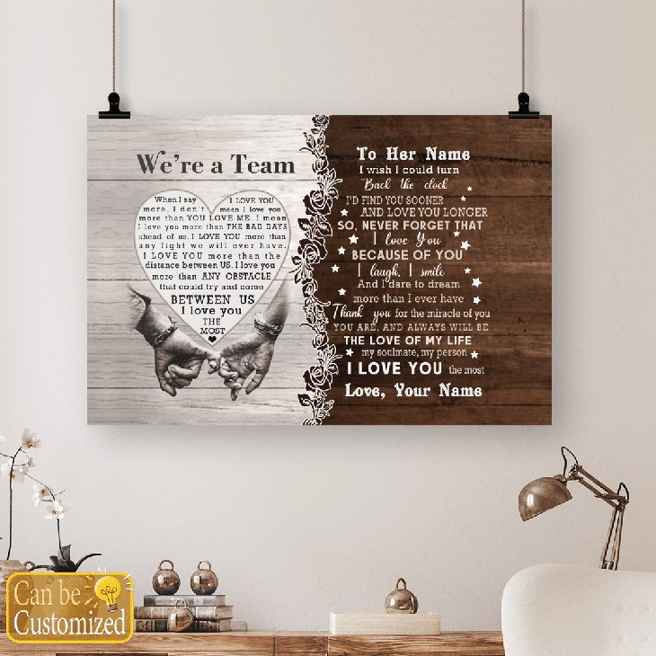 Were A Team Between Us I Love You The Most Custom Name Canvas And Poster4 1