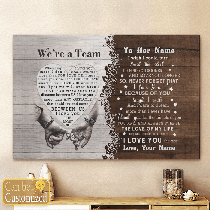 Were A Team Between Us I Love You The Most Custom Name Canvas And Poster6