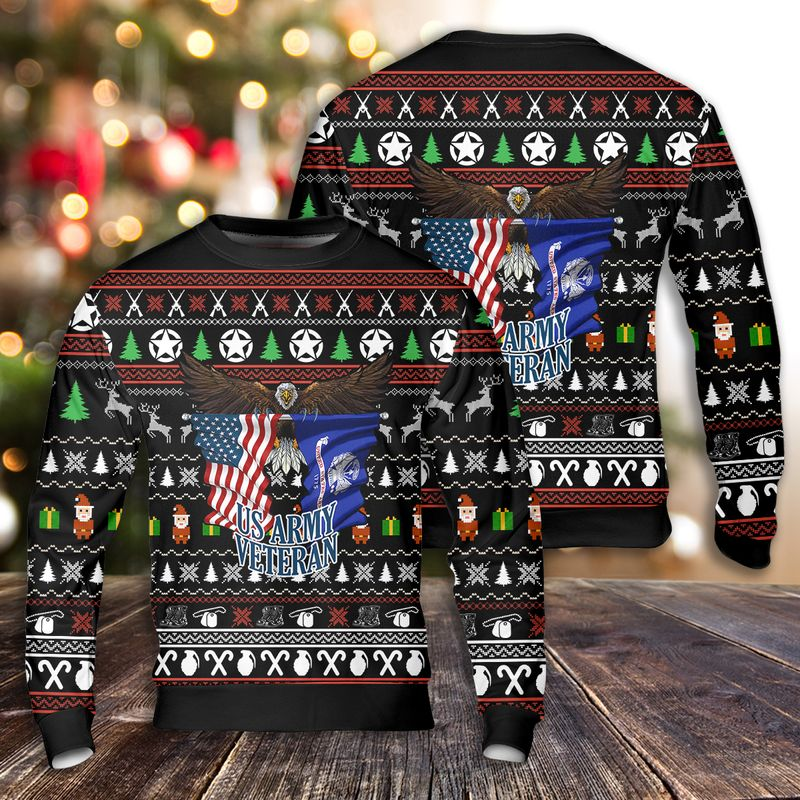 Army Veteran Christmas Ugly Sweater