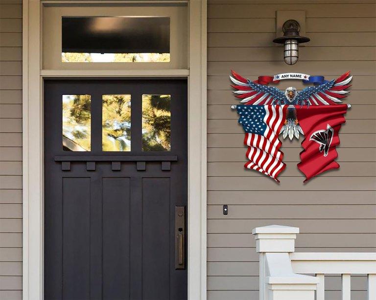 Atlanta Falcons Eagle American flag Metal Sign 2 2