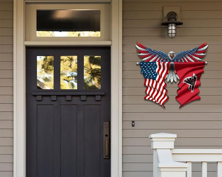 Atlanta Falcons Eagle American flag Metal Sign 2 3