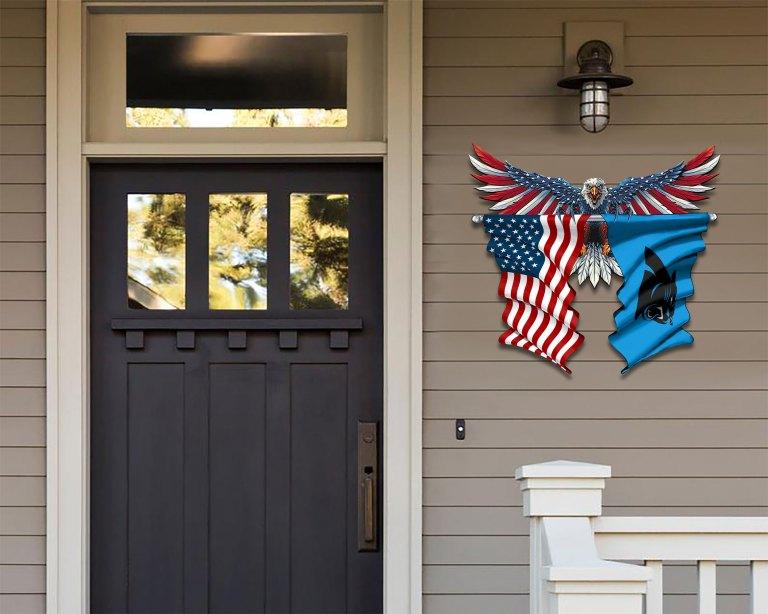 Carolina Panthers Eagle American flag Metal Sign 2 1