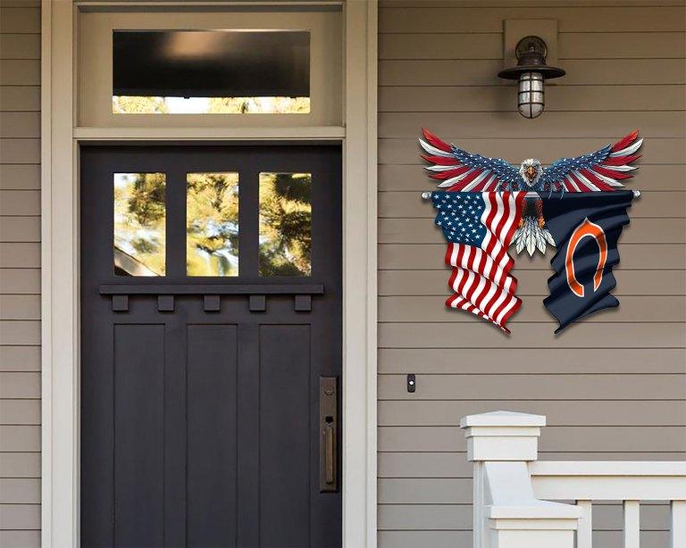 Chicago Bears Eagle American flag Metal Sign 2 1