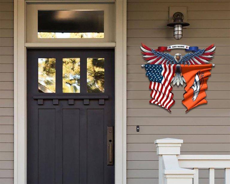 Denver Broncos Eagle American flag Metal Sign 2 2