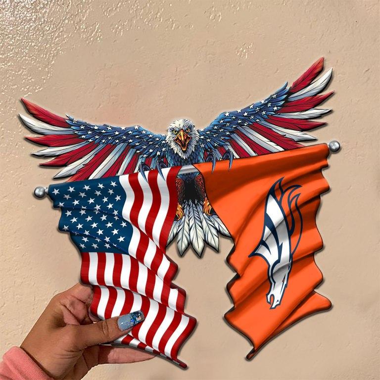 Denver Broncos Eagle American flag Metal Sign 2 3