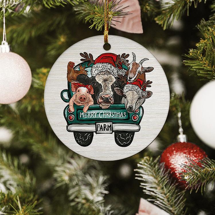 Farm Animal Merry Christmas Ornament2