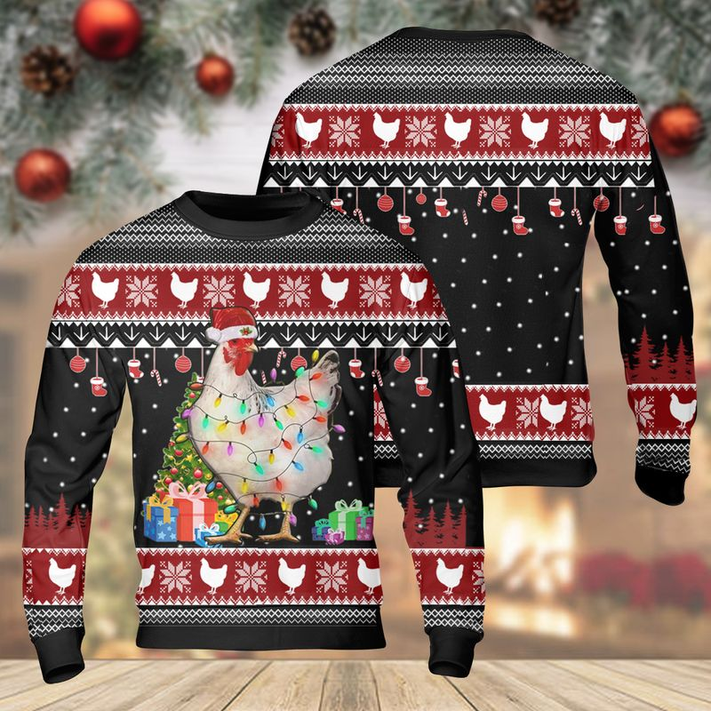 Farming Chicken Light Christmas Ugly Sweater