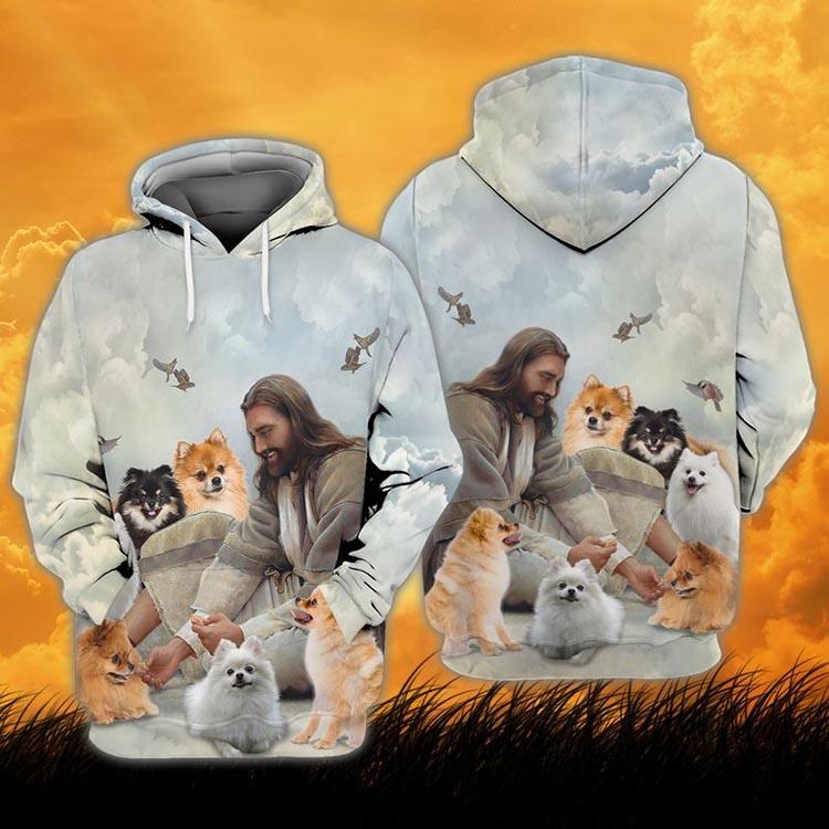 God And Pomeranian 3D Hoodie Shirt 1