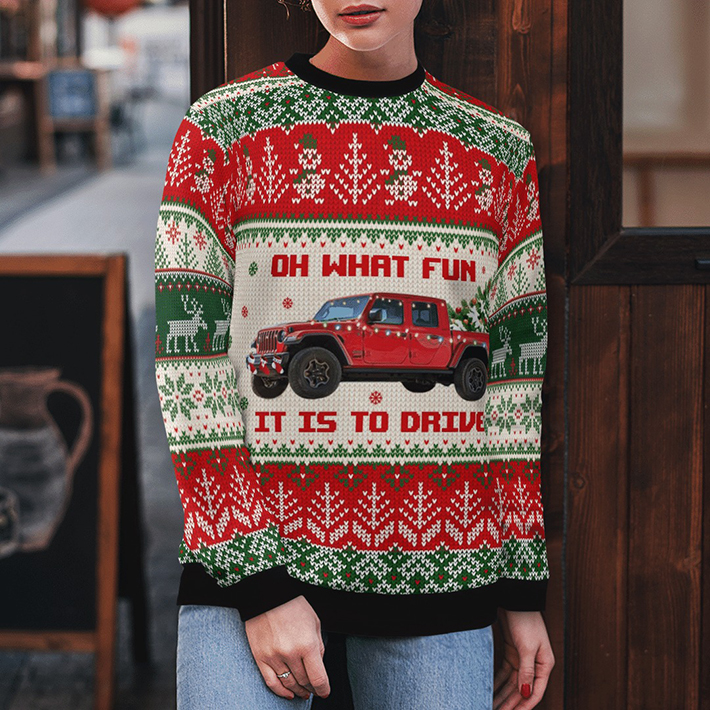 Jeep Red Oh What Fun It Is To Drive Ugly Christmas Sweater4 1