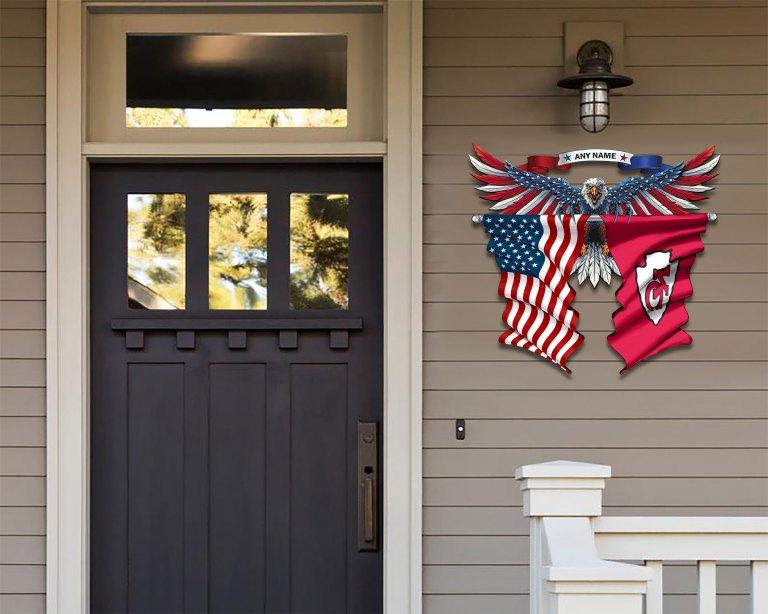 Kansas City Chiefs Eagle American flag Metal Sign 2 1