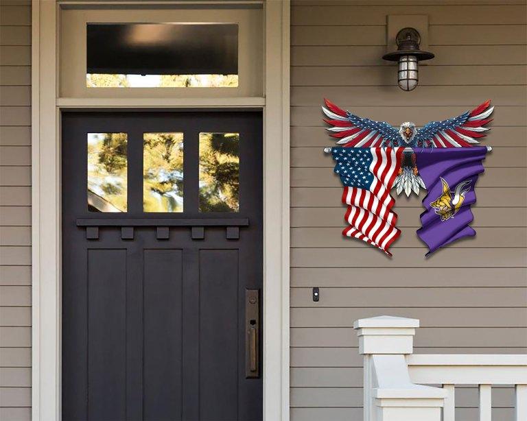 Minnesota Vikings Eagle American flag Metal Sign 2 1