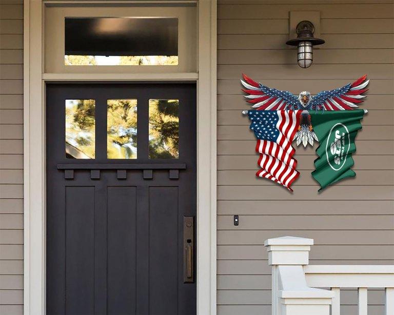 New York Jets Eagle American flag Metal Sign 2 1