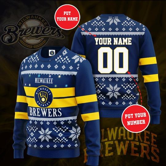 Personalized Milwaukee Brewers custom Christmas Sweater 1