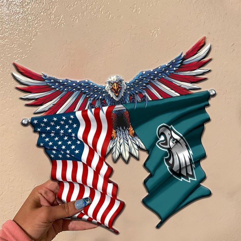 Philadelphia Eagles Eagle American flag Metal Sign 2 1
