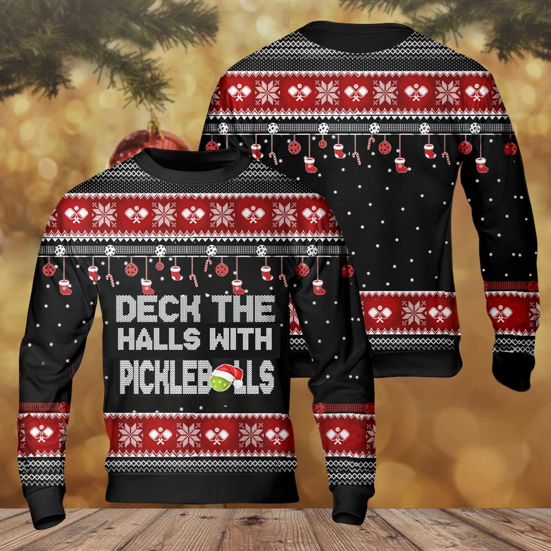 Pickleball Deck The Halls Christmas Ugly Sweater