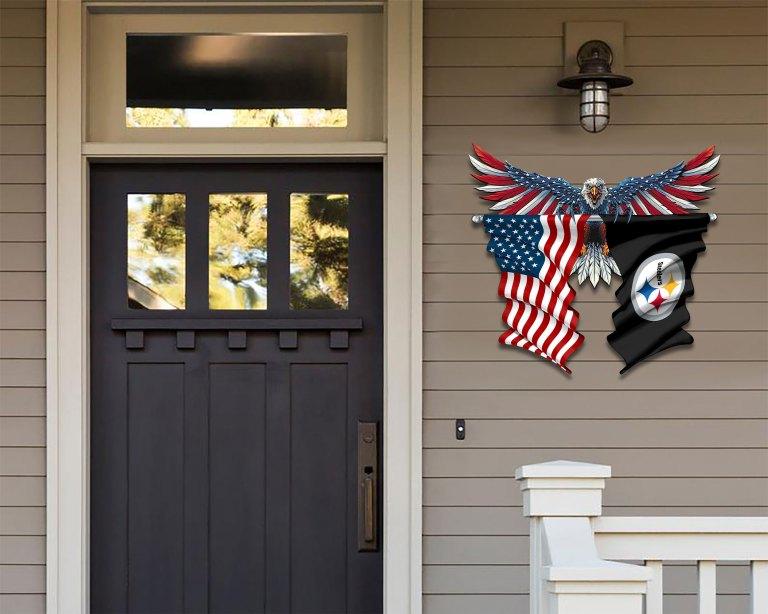Pittsburgh Steelers Eagle American flag Metal Sign 2 1