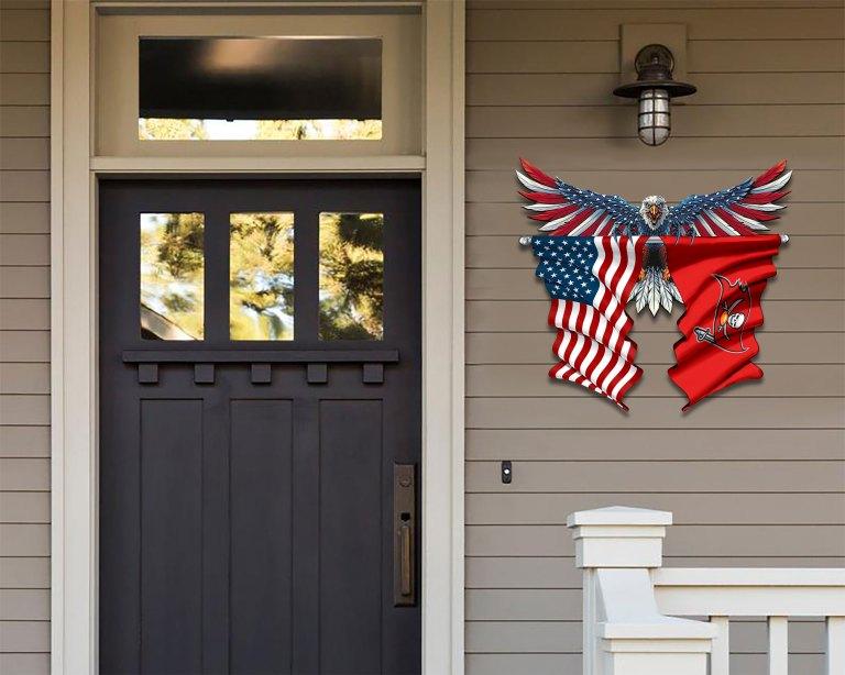 Tampa Bay Buccaneers Eagle American flag Metal Sign 2 1