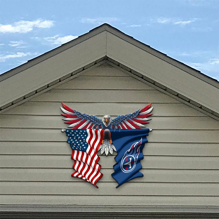Tennessee Titans Eagle American flag Metal Sign 2 1
