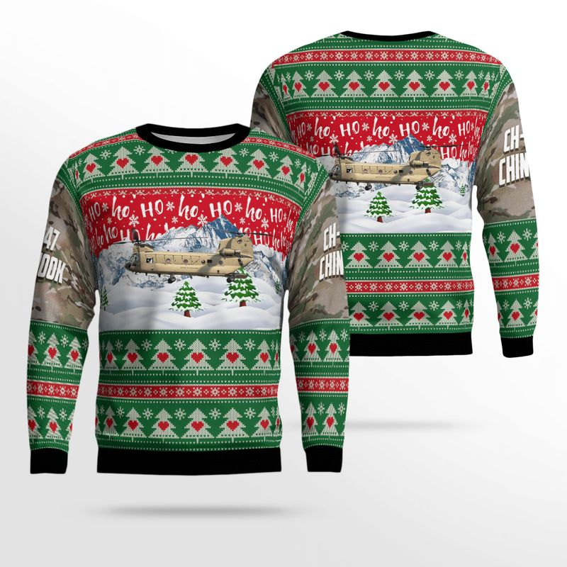 US Army CH 47F Chinook Ugly Sweater