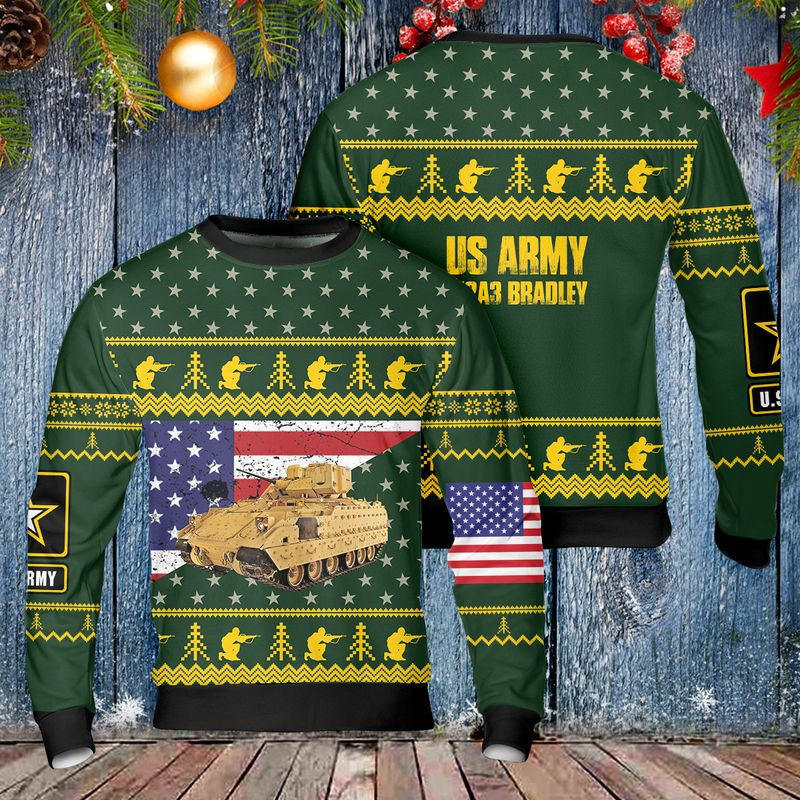 US Army M2A3 Bradley Christmas Ugly Sweater 1