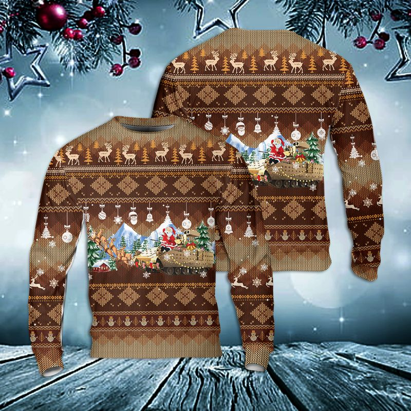 US Army M2A3 Bradley Christmas Ugly Sweater
