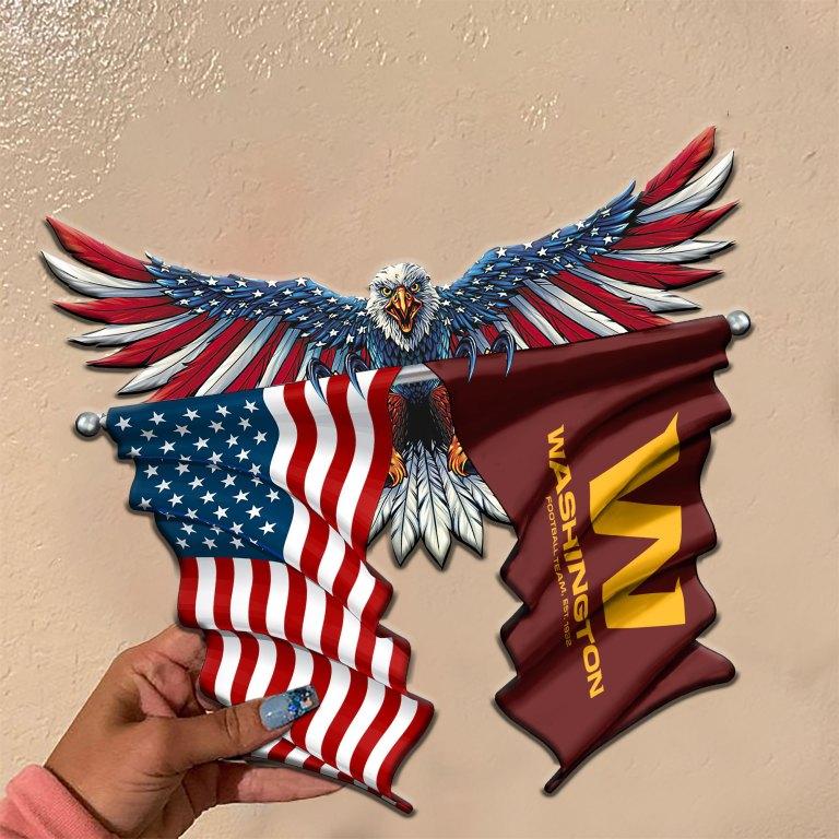 Washington Football Team Eagle American flag Metal Sign 2 1